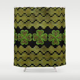 Shamrock Four-leaf clover with Triquetra Shower Curtain