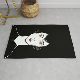 Fade to Black Moody Portrait  Rug