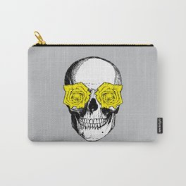 Skull and Roses | Grey and Yellow Carry-All Pouch