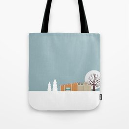 Retro series - Mid Century house in winter Tote Bag