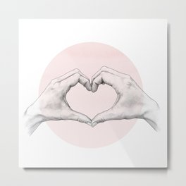 heart in hands // hand study Metal Print