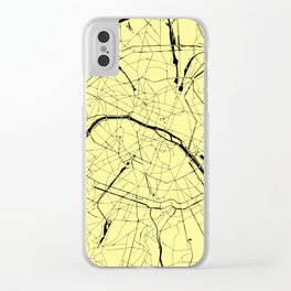 Paris France Minimal Street Map - Yellow on Black Clear iPhone Case