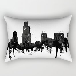 Watercolor Chicago Skyline Rectangular Pillow