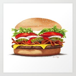 Bacon Cheeseburger by dana alfonso Art Print