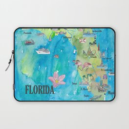 USA Florida State Fine Art Print Retro Vintage Map with Touristic Highlights Laptop Sleeve