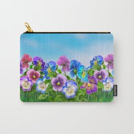 Beautiful Spring Violet Pansy Flowers Garden Carry-All Pouch