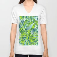 lime green V-neck T-shirts featuring lime worm by Healinglove art products