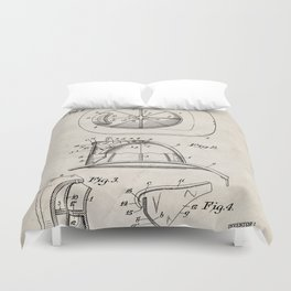 Firemans Helmet Patent - Fire Fighter Art - Antique Duvet Cover