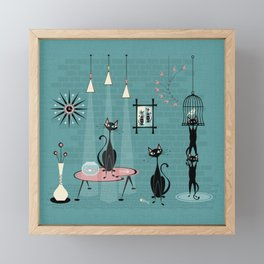 Mid Century Kitty Mischief - ©studioxtine Framed Mini Art Print