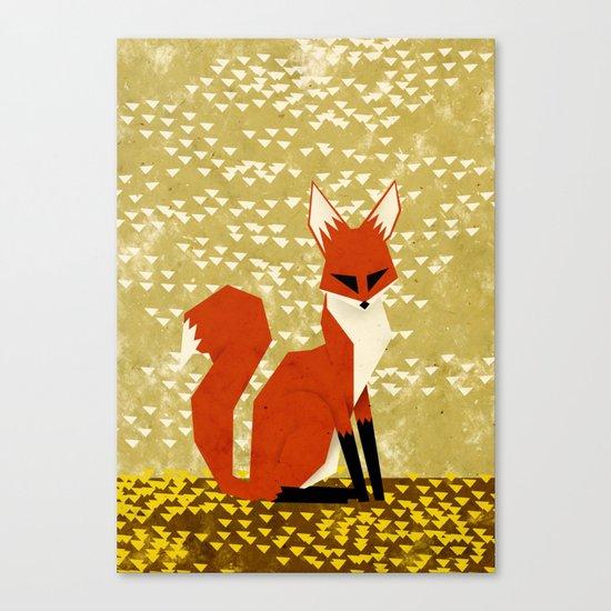 fox on flowers Canvas Print