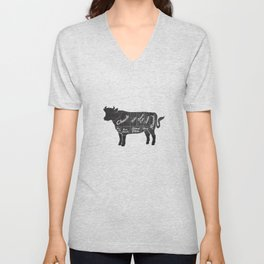 Beef Butcher Diagram Unisex V-Neck
