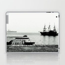 ships on a calm sea black and white Laptop & iPad Skin