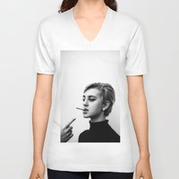 60s V-neck T-shirts featuring Cigarettes and the 60s by Corbishley