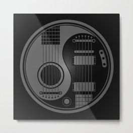 Gray and Black Acoustic Electric Yin Yang Guitars Metal Print