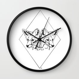 Fox Twins (white) Wall Clock