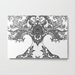 Unity of Halves - Life Tree - Rebirth - White Metal Print