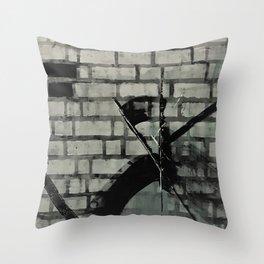 Graffiti Street Art from Original Painting by Jodi Tomer. Abstract Black and White Bricks Throw Pillow