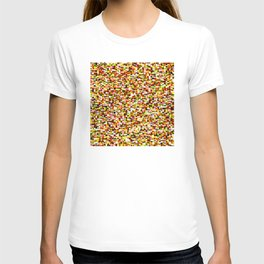 Red yellow pixel noise static pattern T-shirt