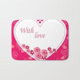white heart with love Bath Mat