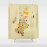 boston map Shower Curtains featuring Boston map by Nicksman