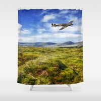 aviation Shower Curtains featuring The Hurricane by Ian Mitchell