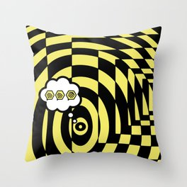 optical visual illusion thinking cloud of black and white chess board tunnel op art  Throw Pillow