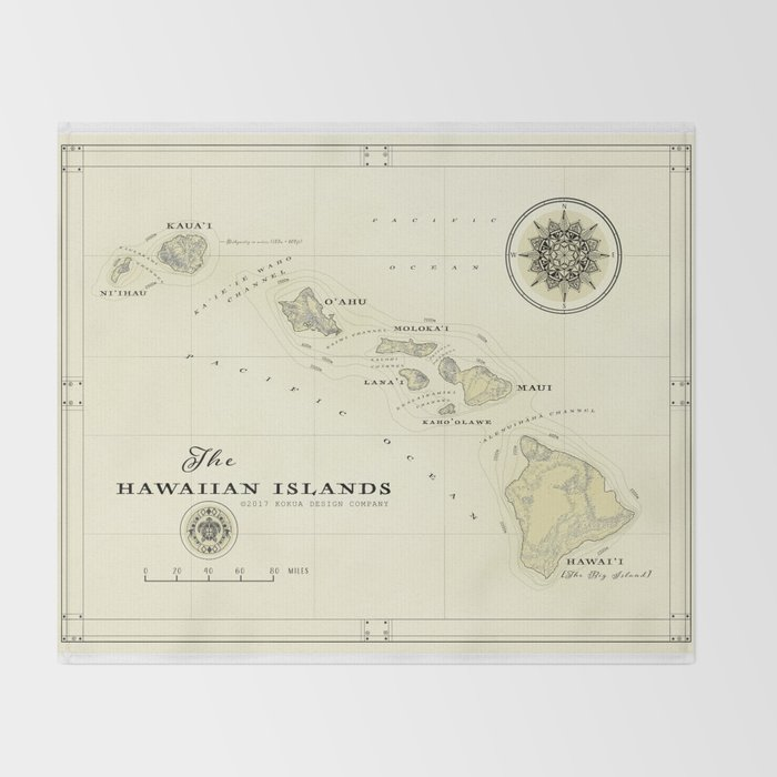photo regarding Printable Map of Hawaiian Islands known as Hawaiian Islands [basic influenced] map print Toss Blanket