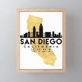 SAN DIEGO CALIFORNIA SILHOUETTE SKYLINE MAP ART Framed Mini Art Print
