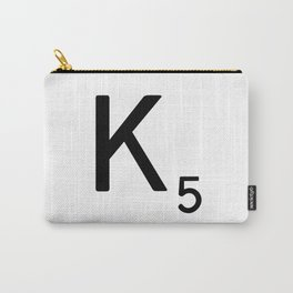 Letter K - Custom Scrabble Letter Tile Art - Scrabble K Carry-All Pouch