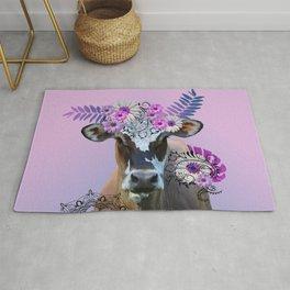 Cow Flower Artwork - Monstera Daisies Blossoms Leaves Rug