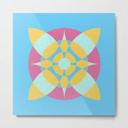 Flower Circles on Soft Blue Color Metal Print