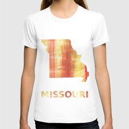 Missouri map outline Red Yellow colorful watercolor texture T-shirt