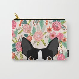 Boston Terrier floral dog head cute pet portrait gifts for boston terriers must haves Carry-All Pouch