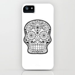 Black and White Sugar Skull iPhone Case