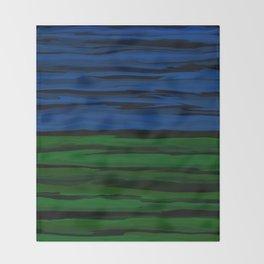 Emerald Green, Slate Blue, and Black Onyx Spilt Throw Blanket