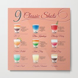 Clasic shots illustration set with recipt Metal Print