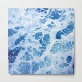 Swirling Ocean Surf in Elegant Blues Metal Print