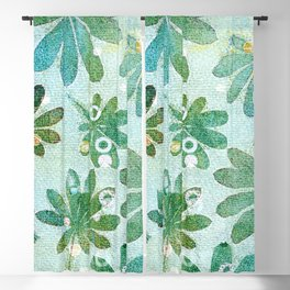 Dreamy green flowers Blackout Curtain