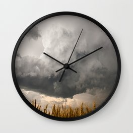 Marshmallow - Storm Cloud Over Golden Wheat in Kansas Wall Clock