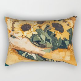 Holding Sunflowers #society6 #illustration #nature #painting Rectangular Pillow