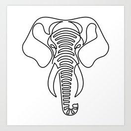 Minimalist Elephant (black on white) Art Print