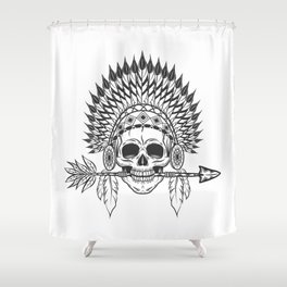 Vintage native american indian skull with feathers headwear and arrow monochrome illustration Shower Curtain