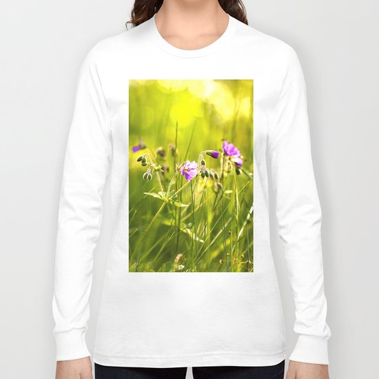Beautiful meadow flowers - geranium on a sunny day - brilliant bright colors Long Sleeve T-shirt