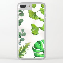 Green Tropical Leaves Ginkgo Biloba Monstera Palm Eucalyptus Silver Dollar Clear iPhone Case