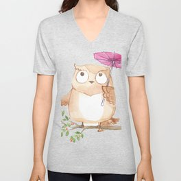 Cute Owl And Umbrella Unisex V-Neck