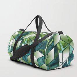 Tropical Cubic Effect Banana Leaves Design Duffle Bag