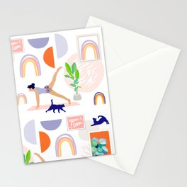 Girl Power Yoga pose Pattern Stationery Cards