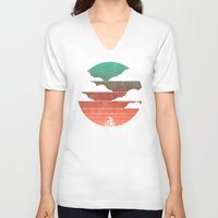 cycling V-neck T-shirts featuring Go West (cycling edition) by Picomodi