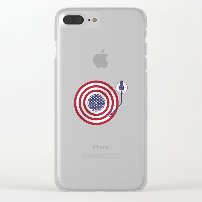 American Flag Vinyl Record Player Turntable Clear iPhone Case