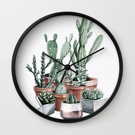 Potted Cacti + Succulents Rose Gold Wall Clock